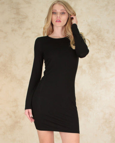 Comeback Baby Long Sleeve Bodycon Dress In Black