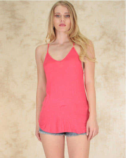 Loose Fitting Racerback Tank Top In Coral