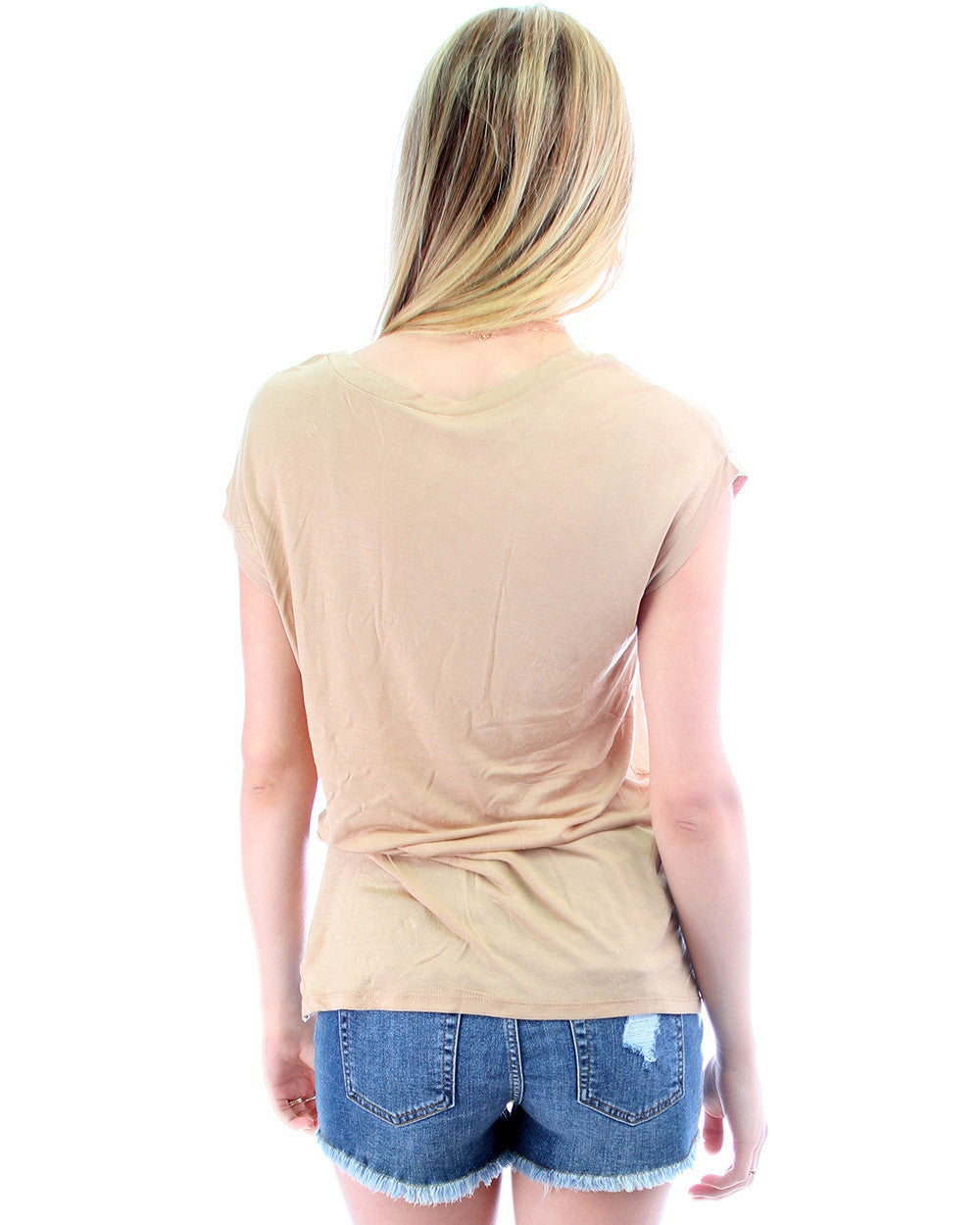 Loose Fitting Tee with Zipper in LT Camel