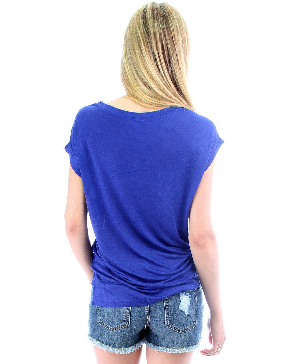Loose Fitting Tee with Zipper in Blue