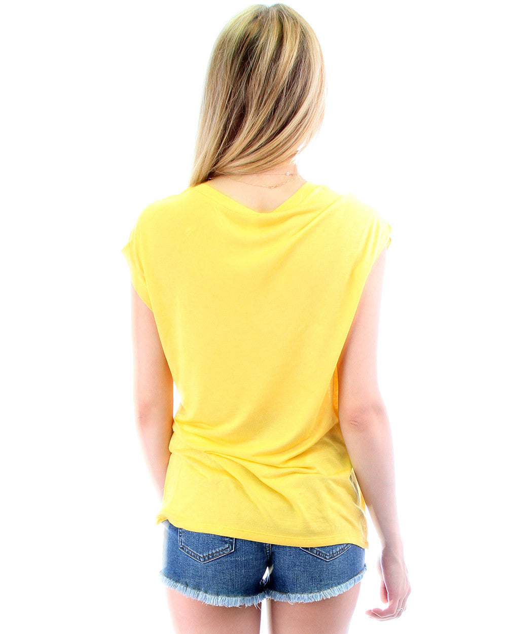Loose Fitting Tee with Zipper in Yellow