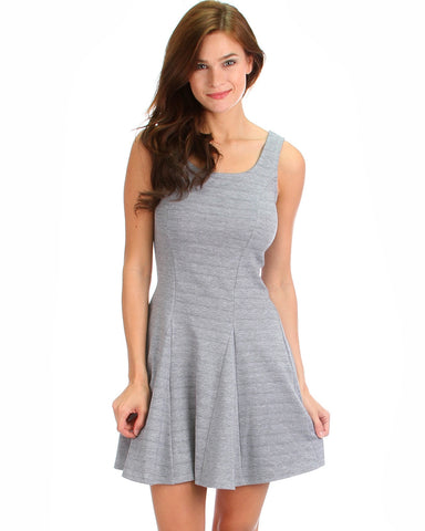 Fit & Flare Skater Dress In Grey