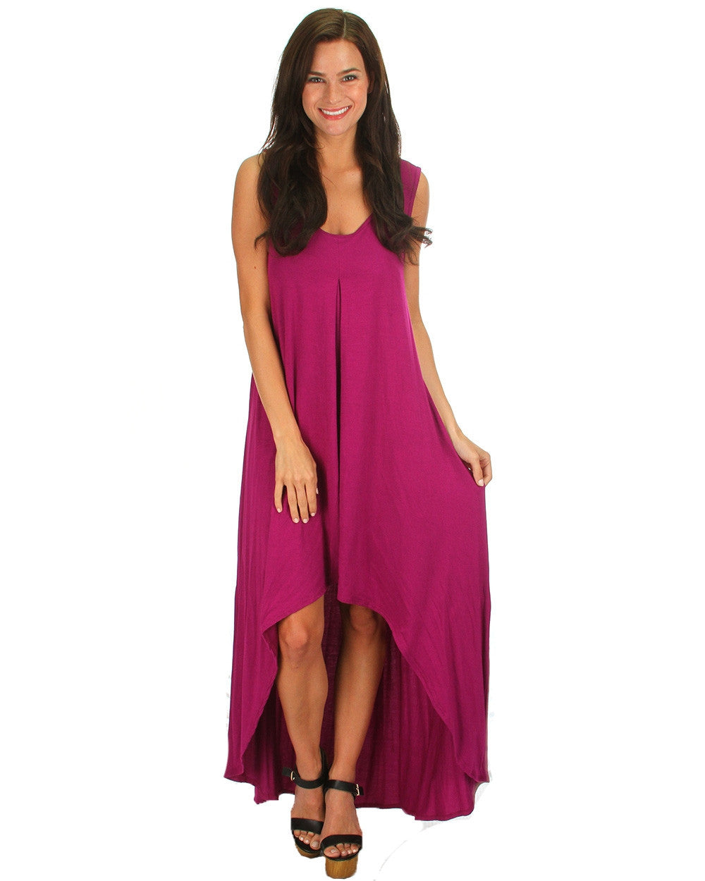 Free Style Hi-Low Maxi Dress In Magenta