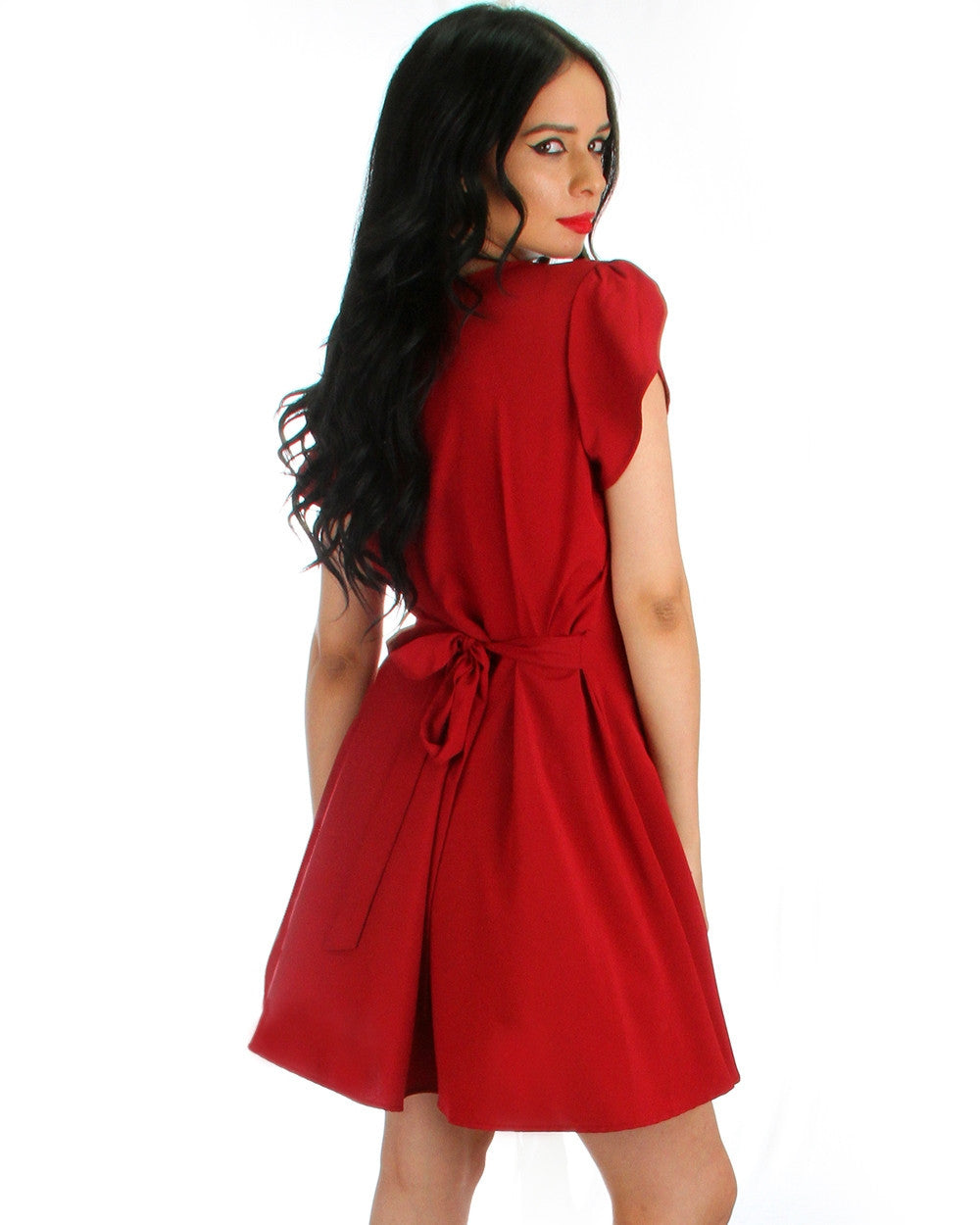 That's a Wrap! Tulip Sleeve Wrap Dress In Burgundy