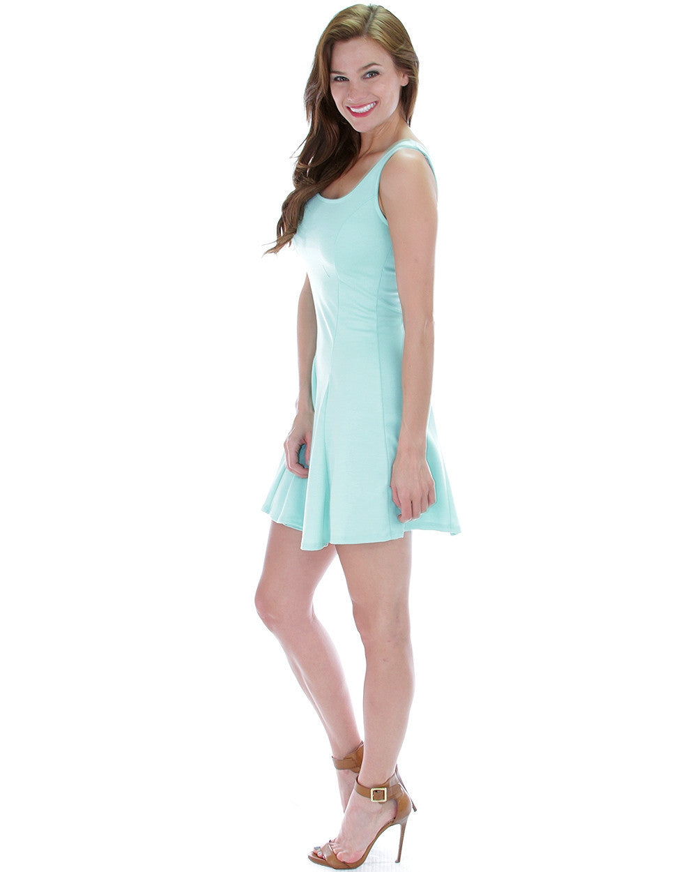 Fit & Flare Skater Dress In Blue