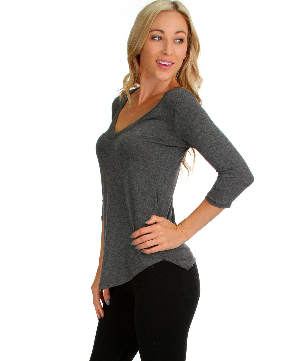Madly Deep V-Neck Long Sleeve Top In Charcoal