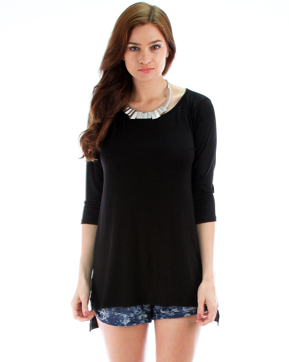 Timeless Slit Tunic Top In Black