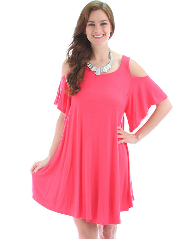 Sun Kissed Shoulders Tunic Dress In Coral