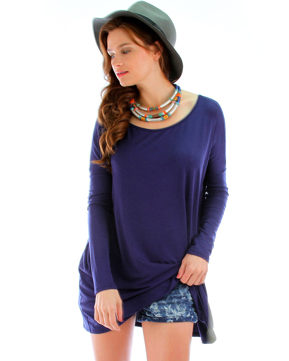 Over-Sized Long Sleeve Tunic Top In Navy