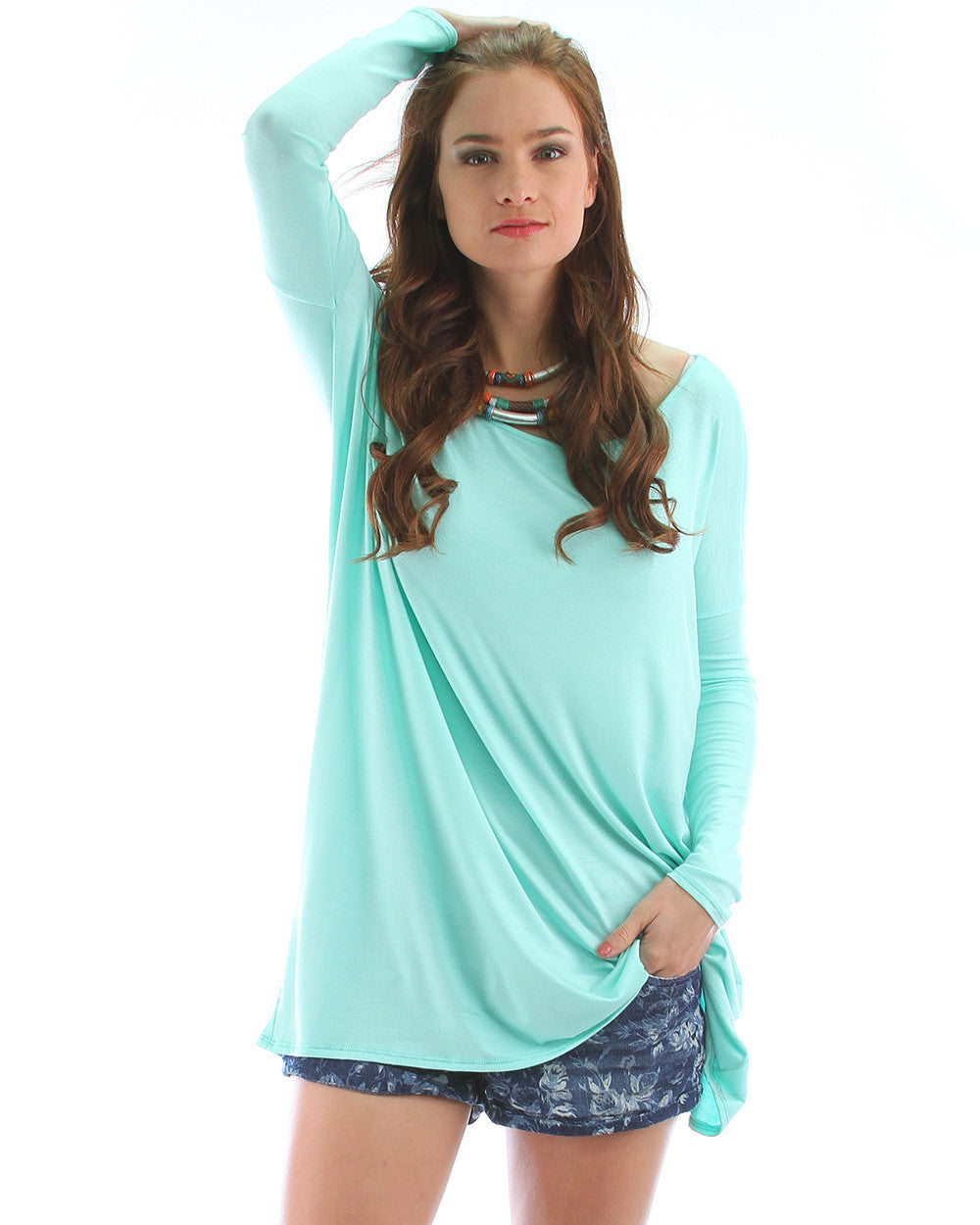 Over-Sized Long Sleeve Tunic Top In Mint