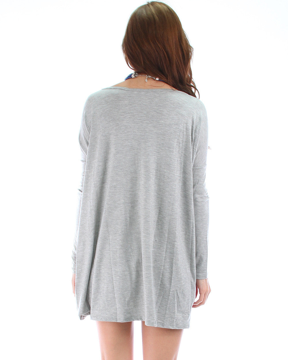 Over-Sized Long Sleeve Tunic Top In Grey