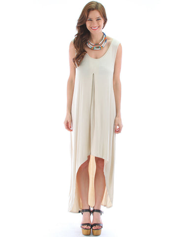 Free Style Hi-Low Maxi Dress In Stone