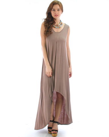 Free Style Hi-Low Maxi Dress In Toffee