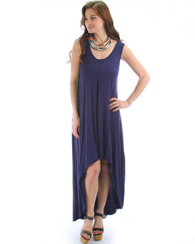 Free Style Hi-Low Maxi Dress In Navy