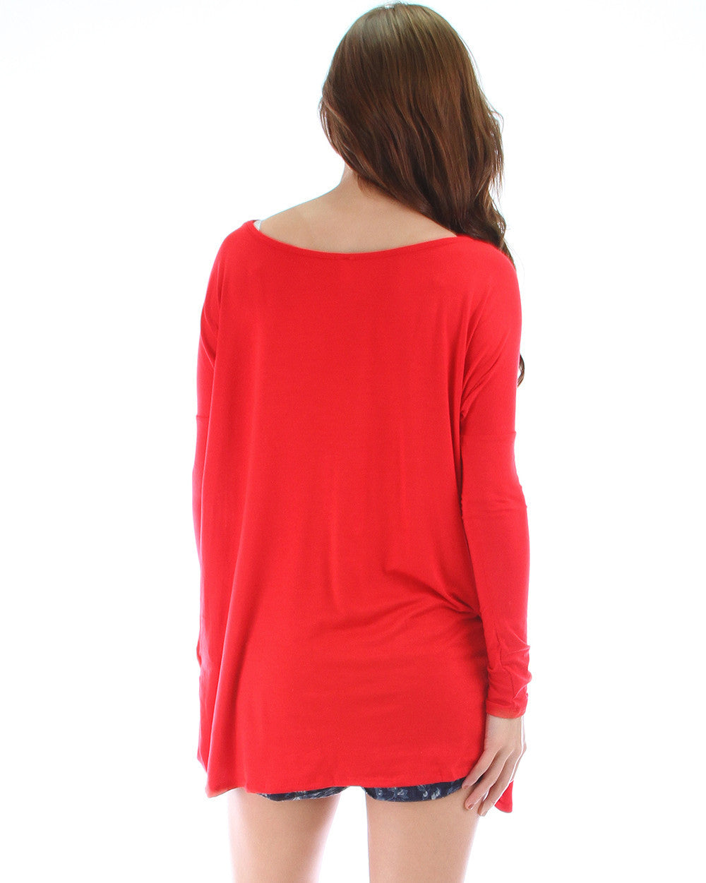 Over-Sized Long Sleeve Tunic Top In Red