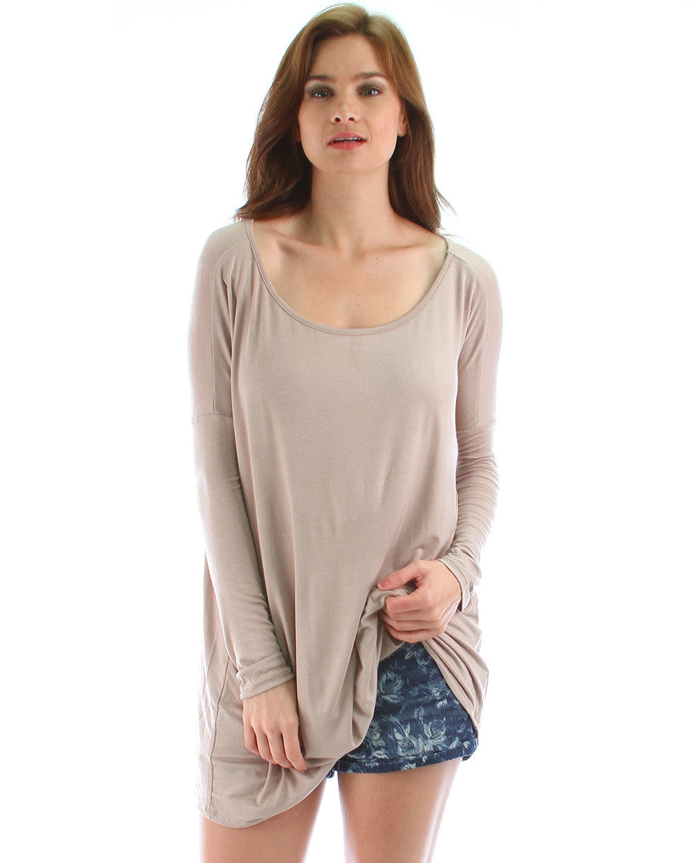 Over-Sized Long Sleeve Tunic Top In Mocha
