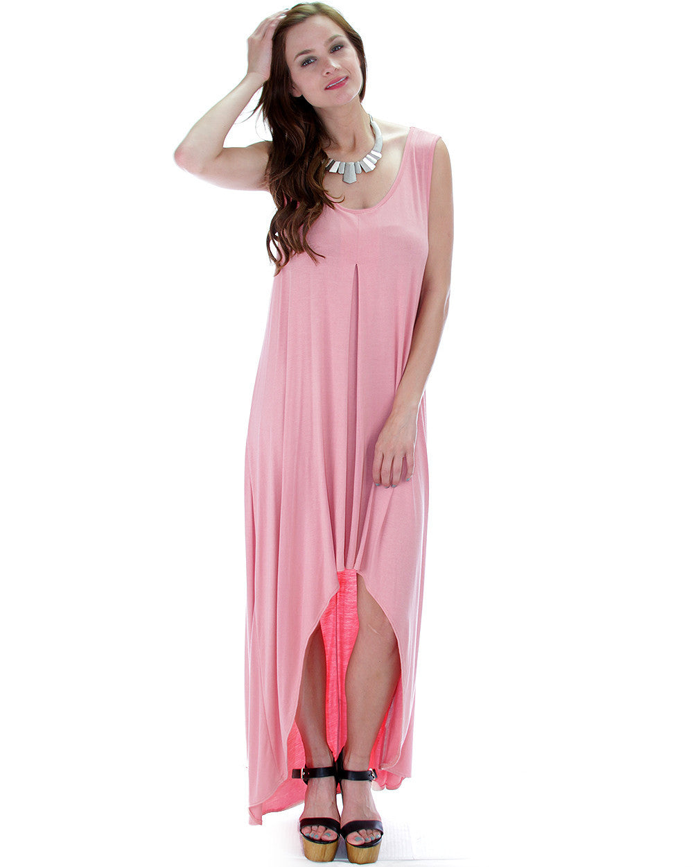 Free Style Hi-Low Maxi Dress In Coral