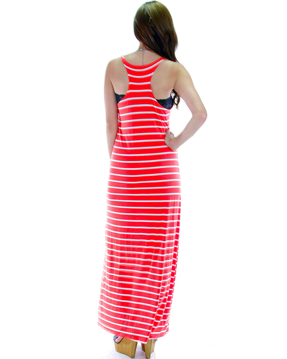 Sassy Stripes Racer-back Maxi Dress In Coral