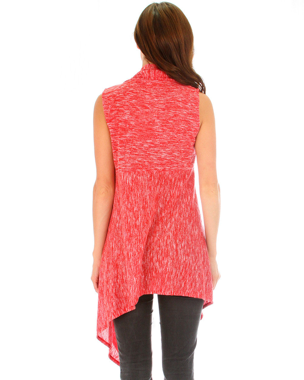 Body Slimming 2-Tone Cardigan In Red