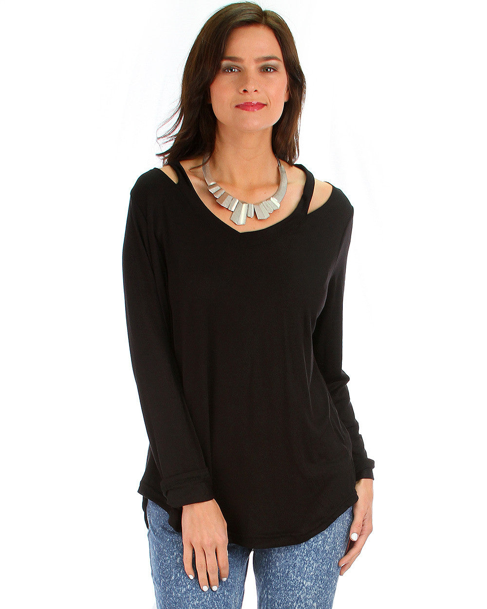 Cut Me Out! Long Sleeve Top In Black