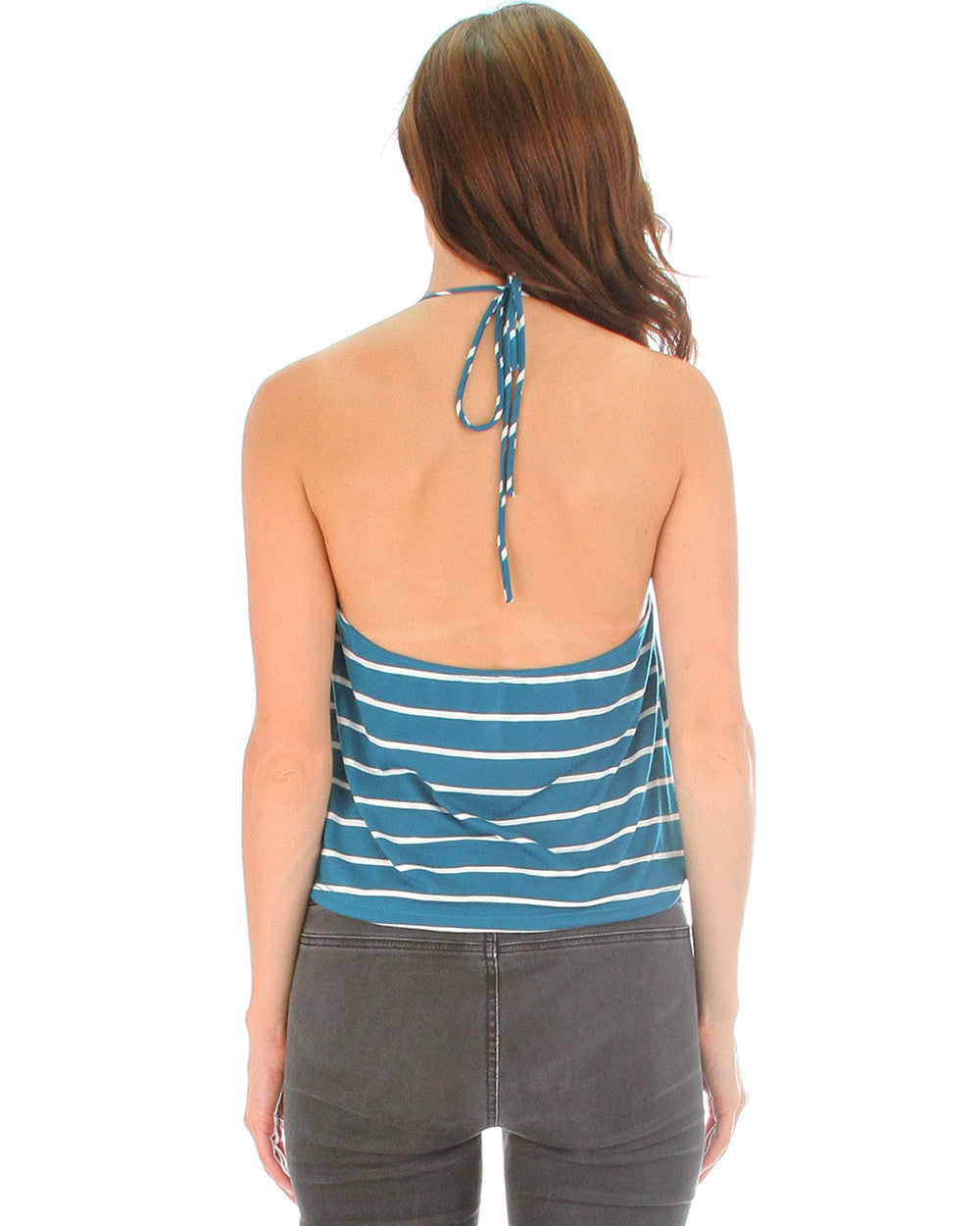 Dapperly Draped Striped Halter Top In Teal