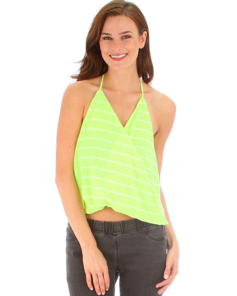 Dapperly Draped Striped Halter Top In Neon