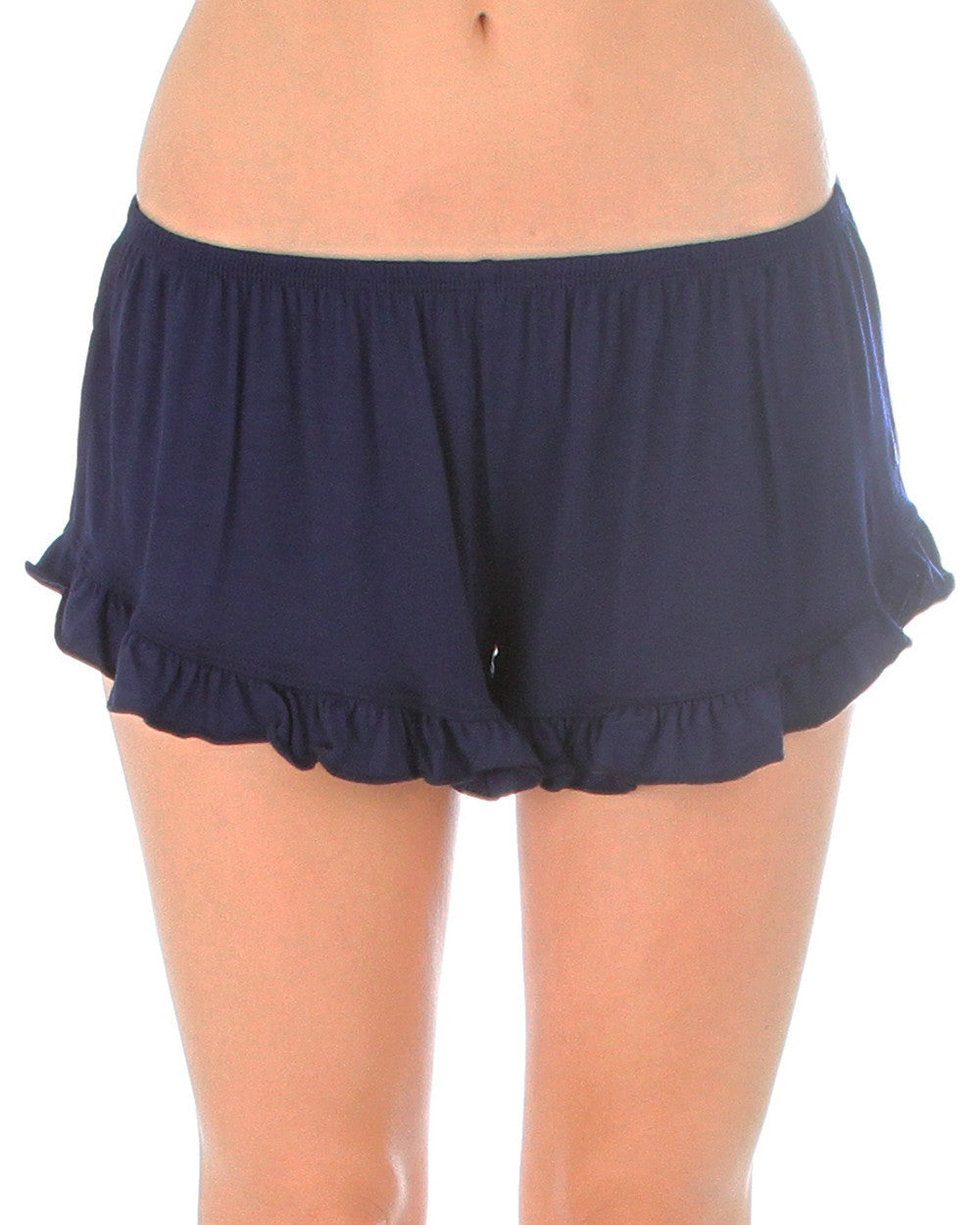 Vodi Shorts With Ruffle Trim In Navy