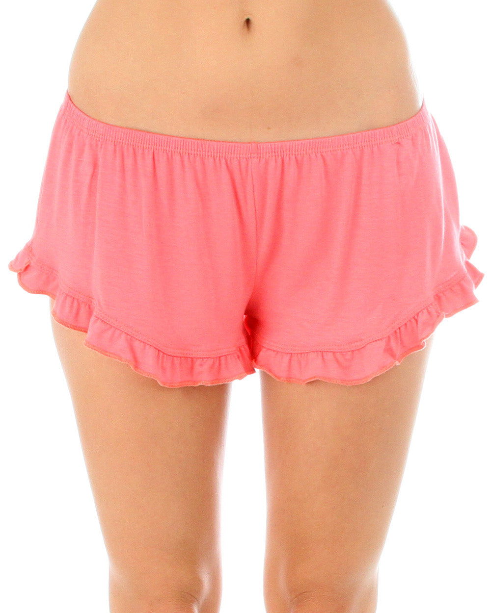 Vodi Shorts With Ruffle Trim In Coral