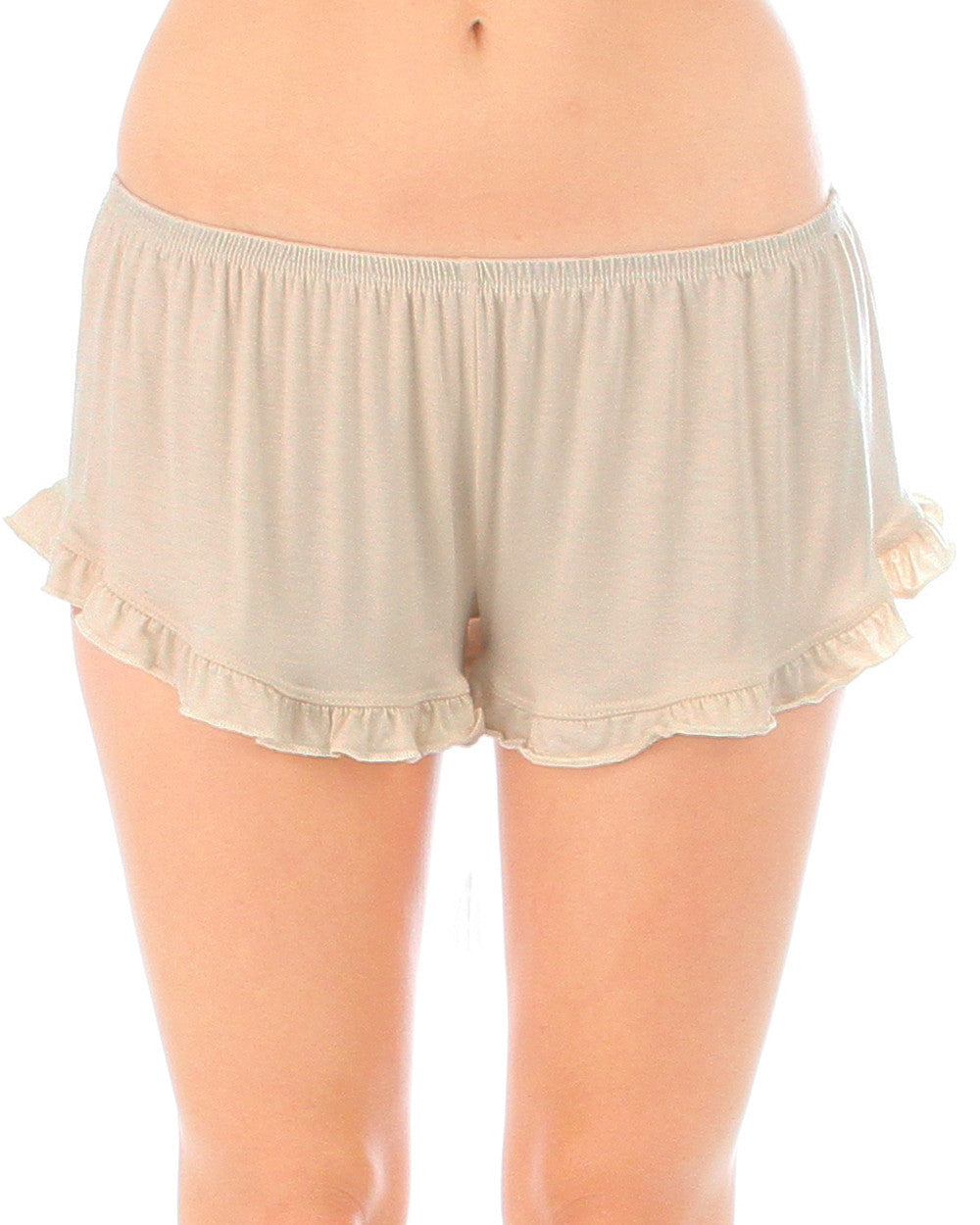 Vodi Shorts With Ruffle Trim In Taupe
