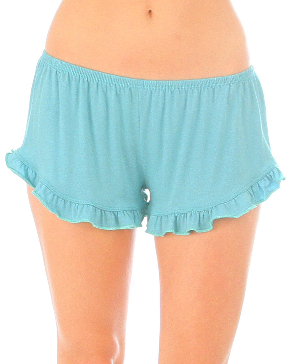 Vodi Shorts With Ruffle Trim In Mint