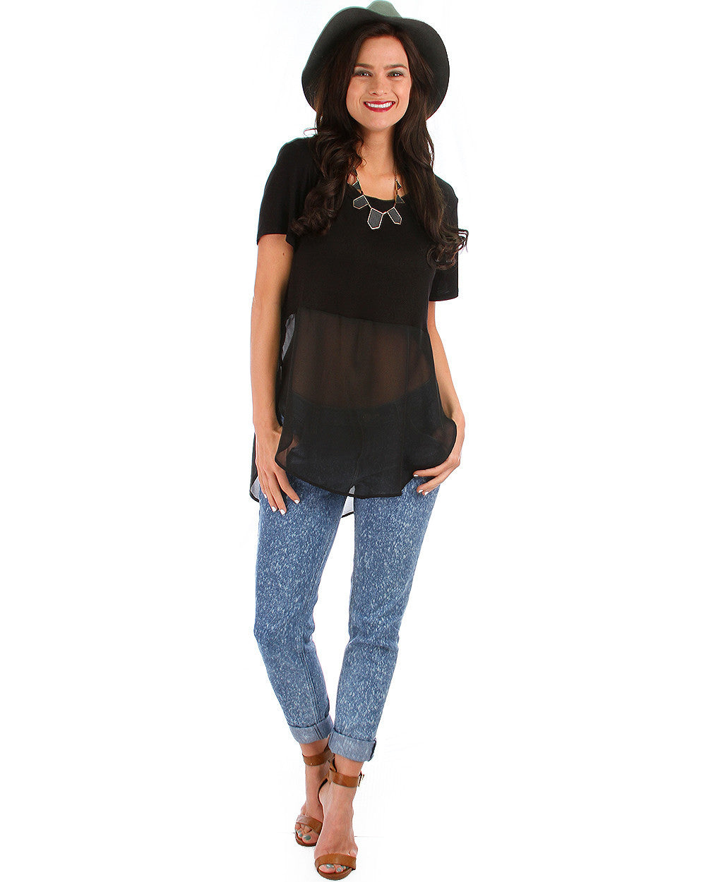 Half & Half Color Block Top In Black