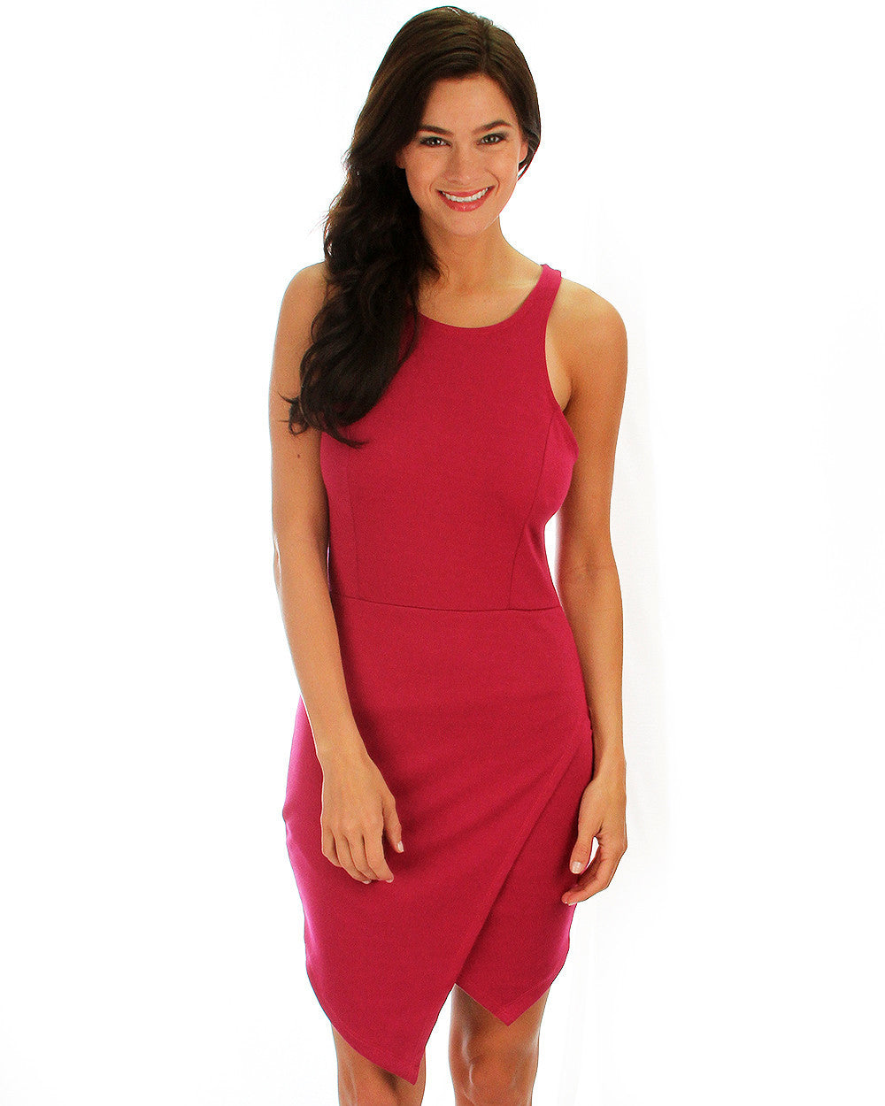 Rock & Ready Bodycon Dress In Magenta - Front