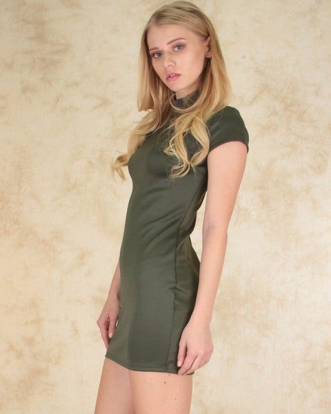 Show Off Bodycon Dress In Olive