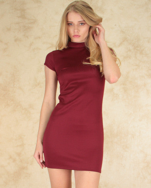 Show Off Bodycon Dress In Burgundy