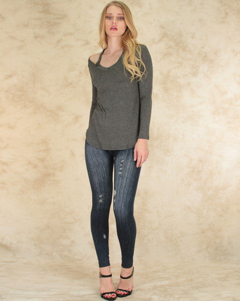 Cut Me Out! Long Sleeve Top In Charcoal