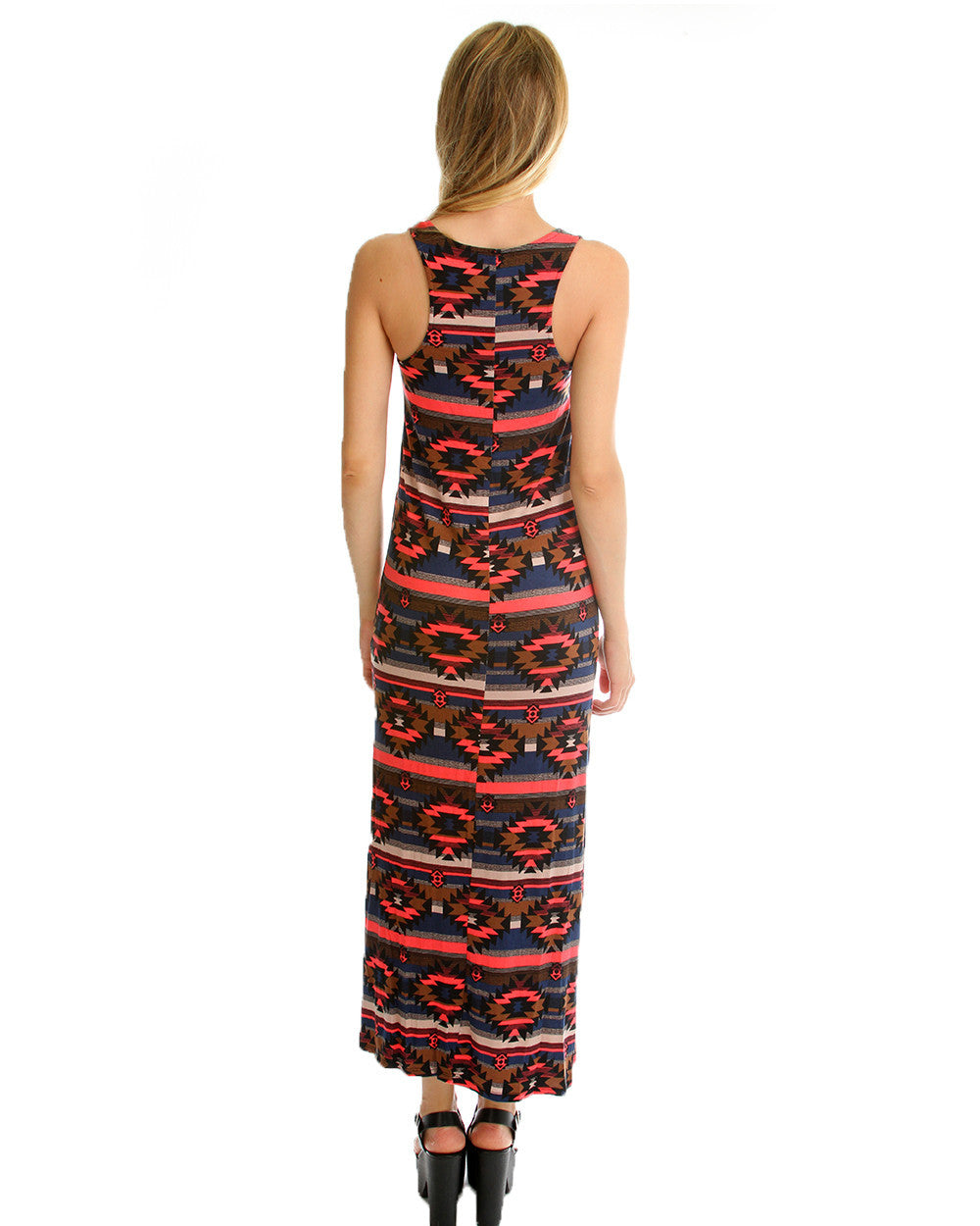 Tribal Print Maxi Dress with leg Slit in Navy & Coral