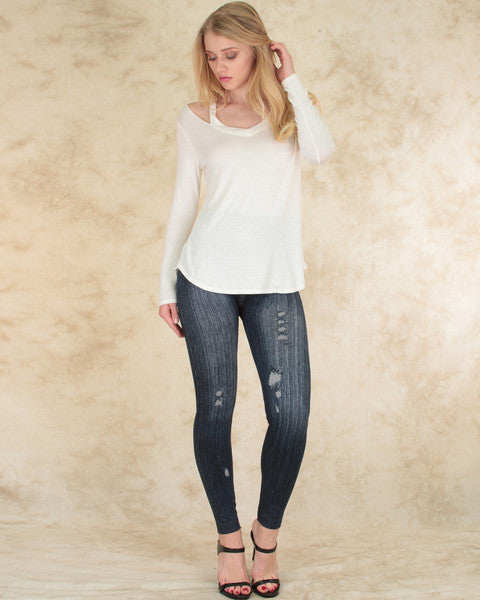 Cut Me Out! Long Sleeve Top In Ivory