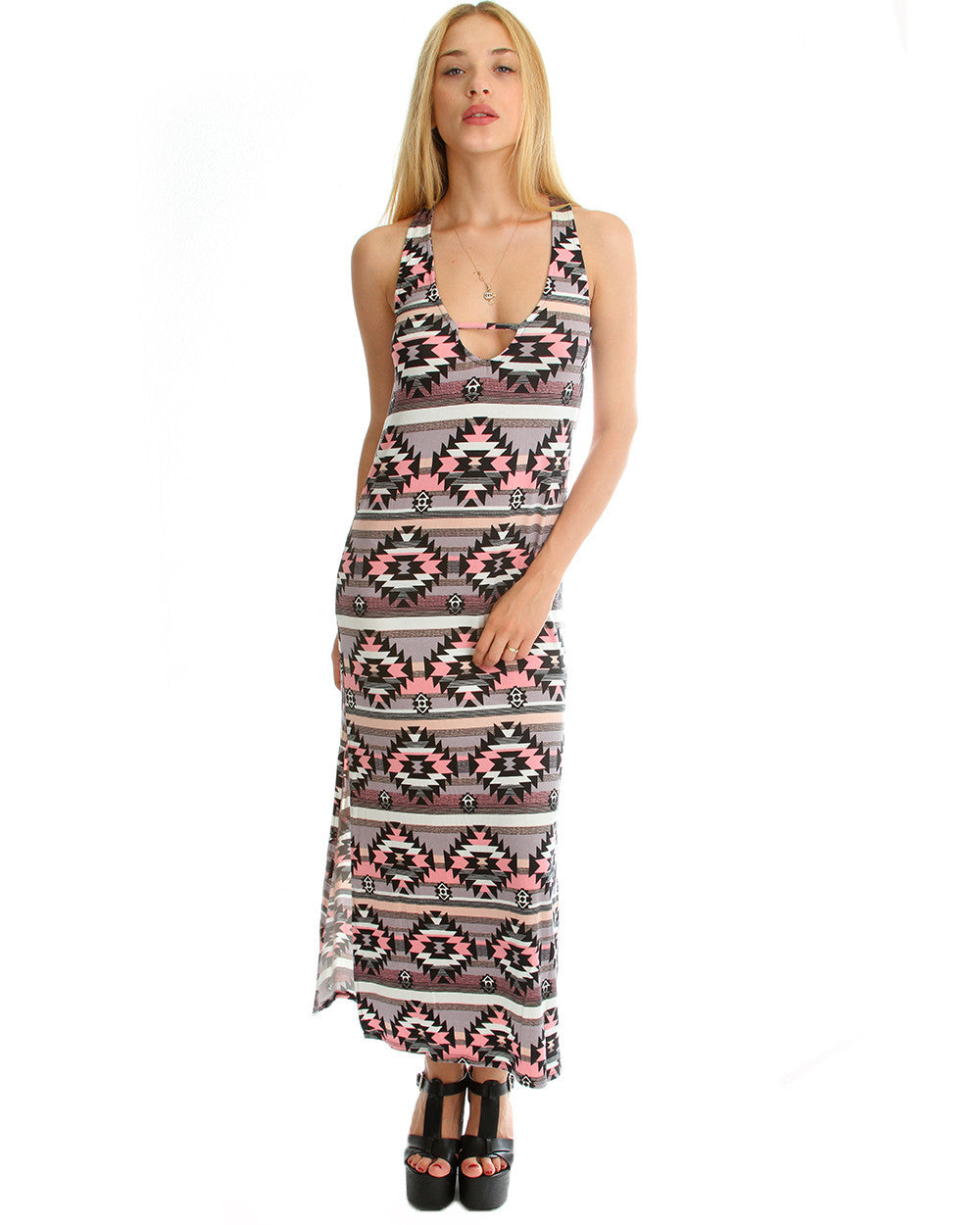 Tribal Print Maxi Dress with leg Slit in Pink & Grey
