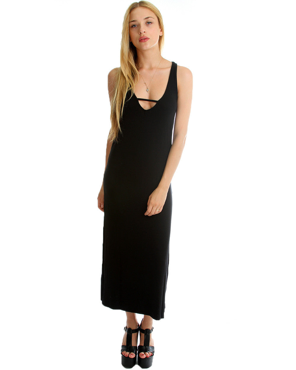Solid Maxi Dress with leg Slit in Black