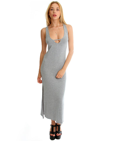 Solid Maxi Dress with leg Slit in Heather Grey