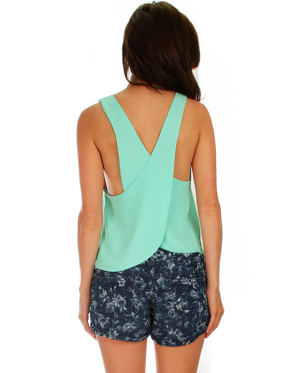 Totally Crossed Out Tank Top In Mint