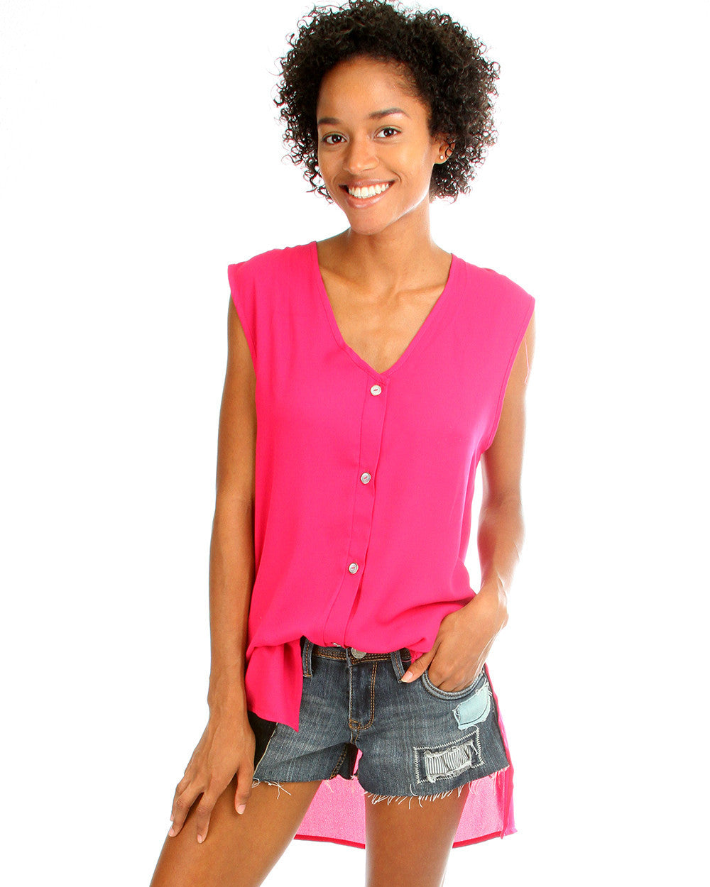 Day Dreamer Button Down Tunic Top In Magenta