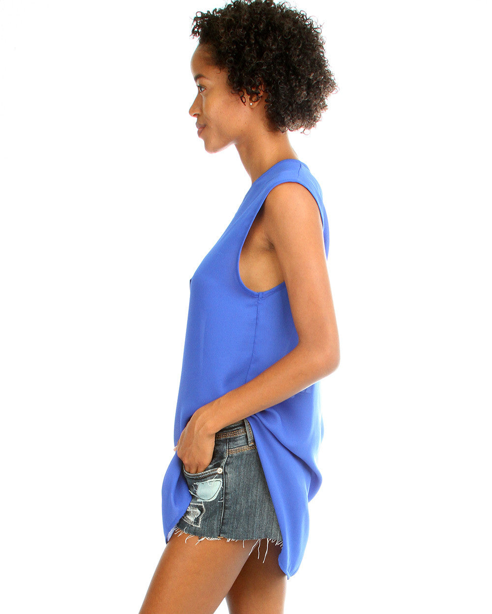 Day Dreamer Button Down Tunic Top In Royal