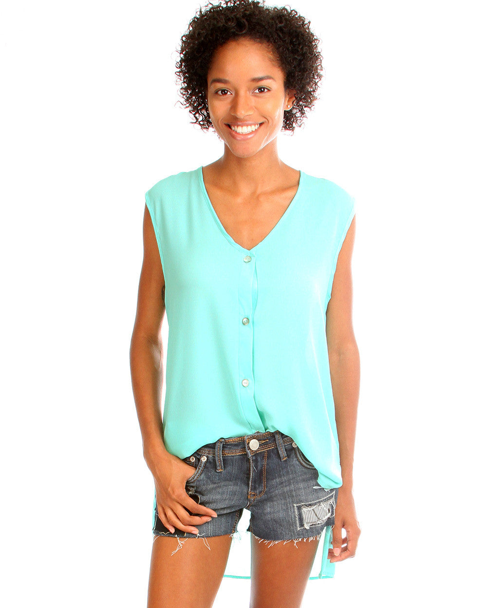 Day Dreamer Button Down Tunic Top In Mint