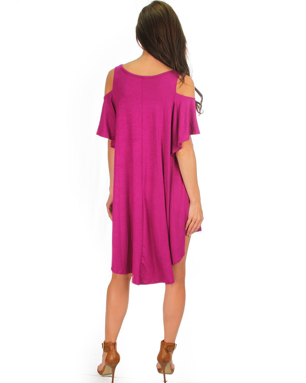 Sun Kissed Shoulders Tunic Dress In Magenta