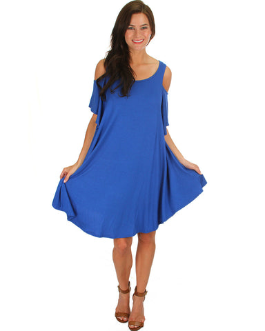 Sun Kissed Shoulders Tunic Dress In Royal