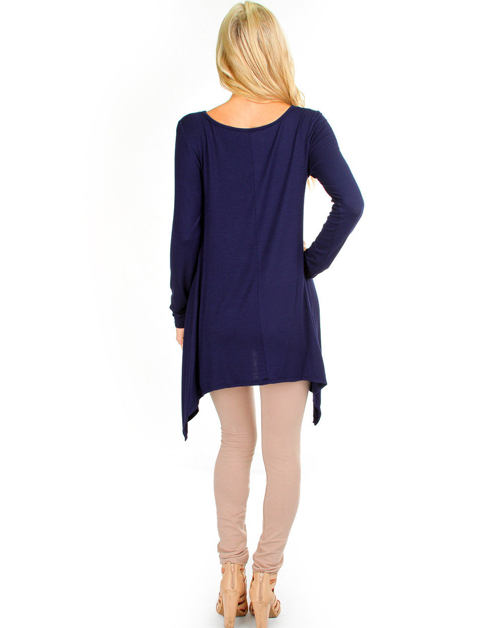 Watch Me Drape Long Sleeve Top In Navy