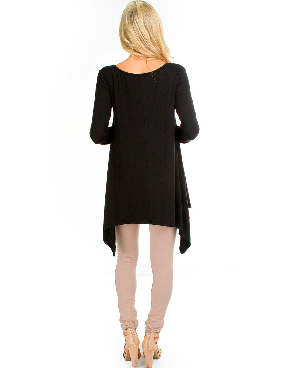 Watch Me Drape Long Sleeve Top In Black