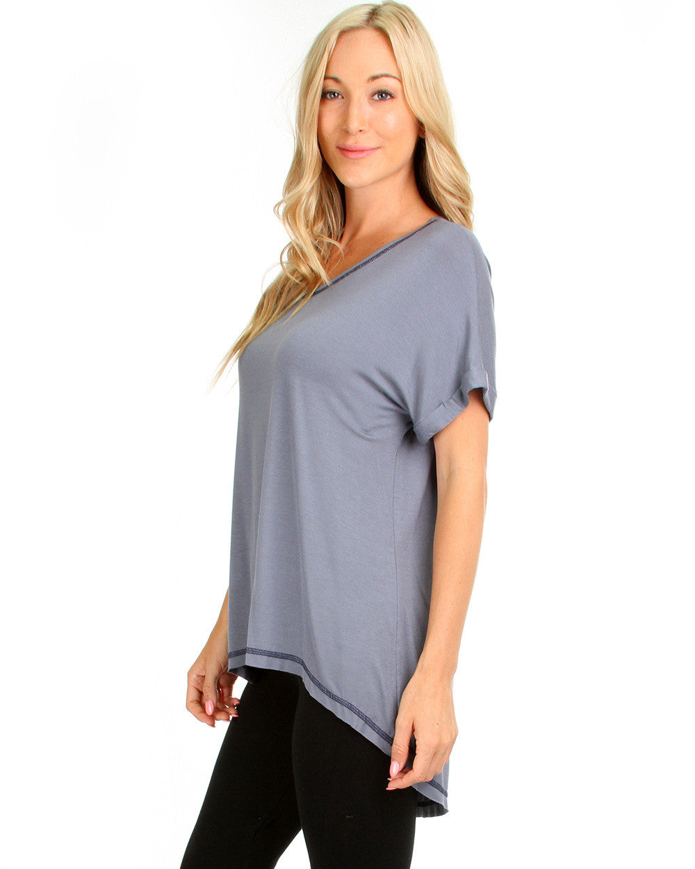 Casually Cute Hi-Low Contrast Stitch Top In Soot