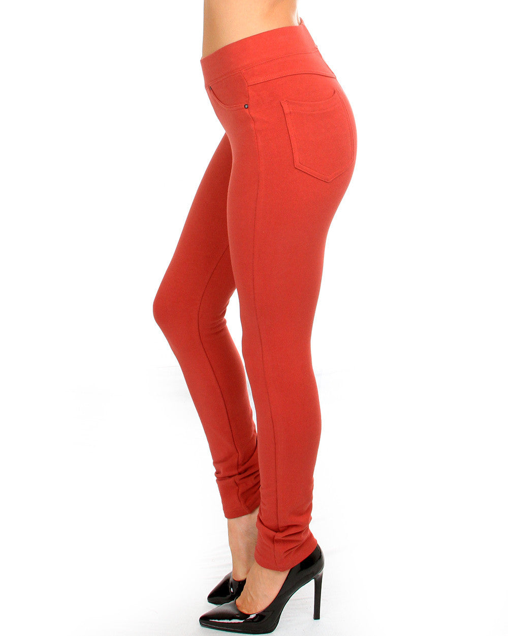 Slim Fit Stretchy Pants In Rust